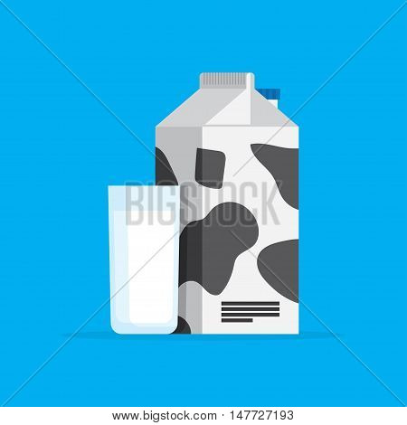 Cow milk carton and milk cup isolated on blue background.