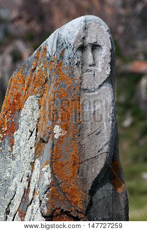 Ancient stone statue on the site Kalbak-Tash in the Altai Mountains Russia