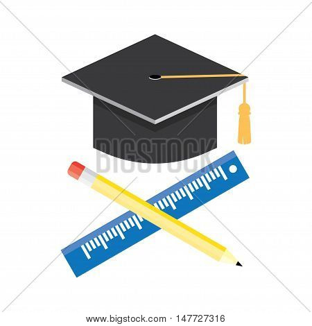 Graduation cap vector illustration. in the flat style.