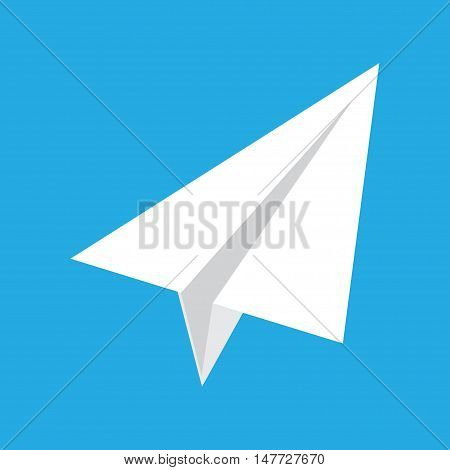 origami paper airplane on blue background. Icon of paper plane.