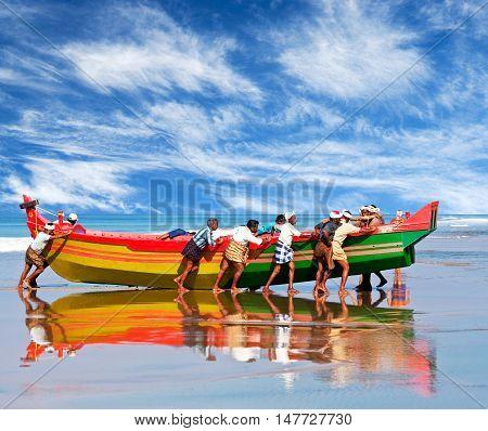 Fishermen In Kerala, South India