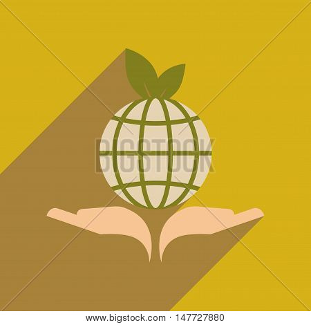 Flat web icon with long  shadow Earth hands
