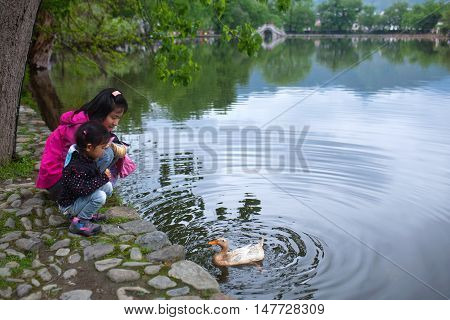 HONGCUN, CHINA - APRIL 20, 2014: Tourists feeding duck on Moon Lake in Hongcun Village. Hongcun is ancient village in Anhui Province near the southwest of Mount Huangshan.