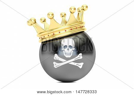 Crown with pirate flag 3D rendering isolated on white background