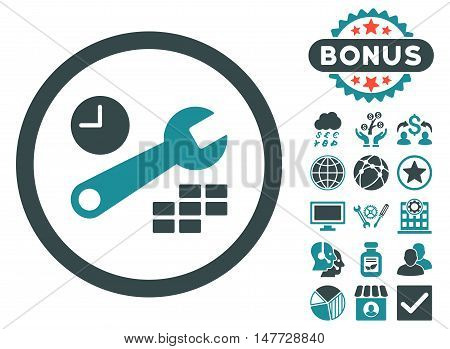 Date and Time Configuration icon with bonus pictogram. Vector illustration style is flat iconic bicolor symbols, soft blue colors, white background.