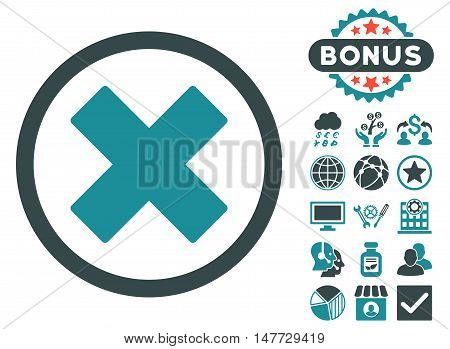 Delete X-Cross icon with bonus symbols. Vector illustration style is flat iconic bicolor symbols soft blue colors white background.