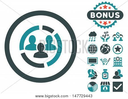 Demography Diagram icon with bonus pictures. Vector illustration style is flat iconic bicolor symbols soft blue colors white background.