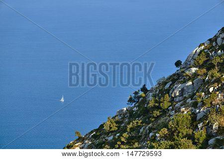 Rocky cliff on the Greek island of Lefkada