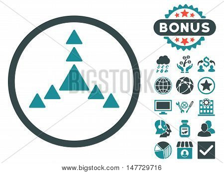 Direction Triangles icon with bonus symbols. Vector illustration style is flat iconic bicolor symbols, soft blue colors, white background.