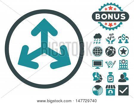 Direction Variants icon with bonus symbols. Vector illustration style is flat iconic bicolor symbols, soft blue colors, white background.