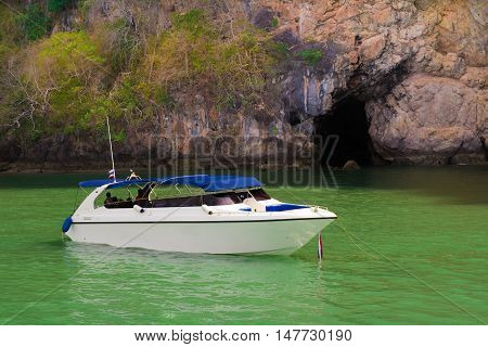 Tourist speedboats at the Bali Hai pier in Pattaya Thailand