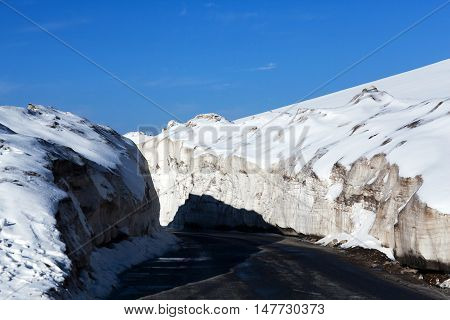 Snowdrift At The Leh - Manali Highway In India