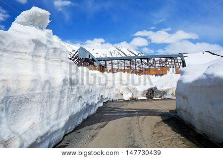 Snowdrift At The Leh - Manali Highway In Indian Himalayas