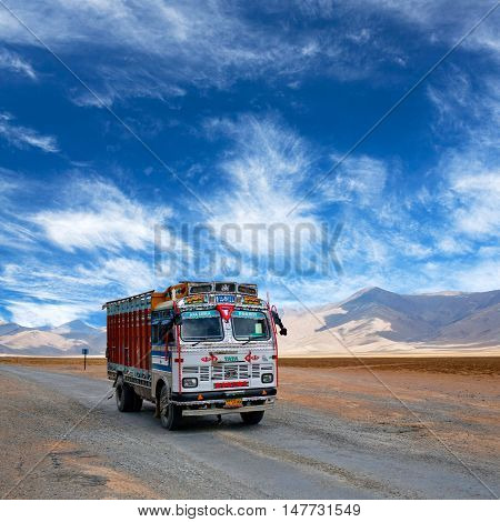Truck Driving On Manali - Leh National Highway, India