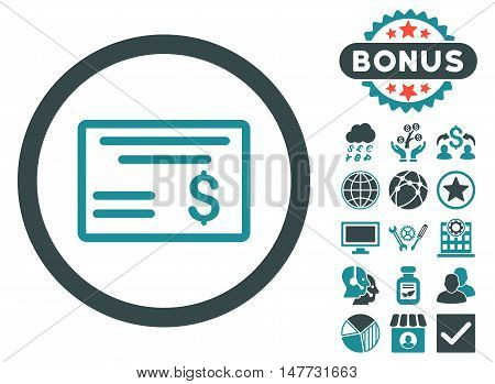 Dollar Cheque icon with bonus images. Vector illustration style is flat iconic bicolor symbols soft blue colors white background.