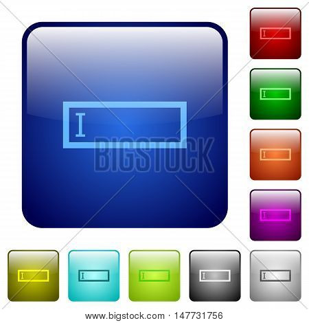 Set of editbox color glass rounded square buttons