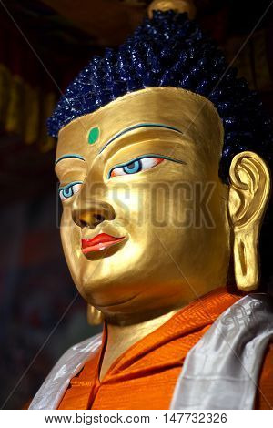 LEH, INDIA - JUNY 11, 2013: Beautiful sculpture of Gautama Buddha at Hemis Gompa (Tibetan Buddhist Monastery) in Leh, Ladakh, Jammu and Kashmir state of India