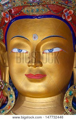 Maitreya Buddha (future Buddha) At Thiksey Gompa In Leh, India