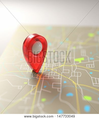 3D illustration. GPS mark on the road map.