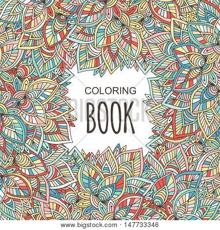 Adult coloring book cover. Autumn colorful ornament. Vector hand drawn coloring page background.