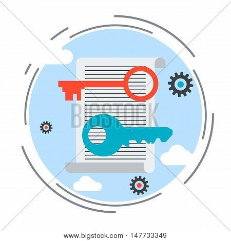 Keywording tools, web optimization flat design style vector concept illustration
