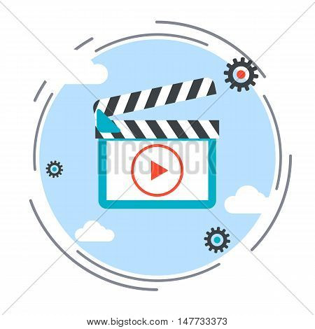 Video production, clapper flat design style vector icon