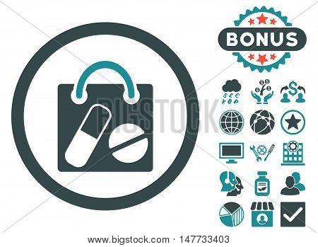 Drugs Shopping Bag icon with bonus images. Vector illustration style is flat iconic bicolor symbols, soft blue colors, white background.