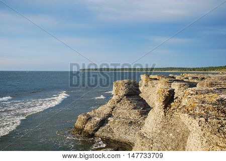 Coastal limestone formations raukar at Byrum at the swedish island Oland the island of sun and wind in the Baltic Sea