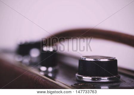 Close Up Of Dials On A Retro Style Radio Vintage Retro Filter.