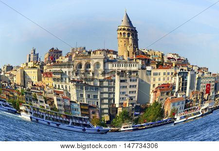 Turkey - Istanbul Sea of Marmara the Golden Horn Istanbul Galata Tower and cityscape fisheye.