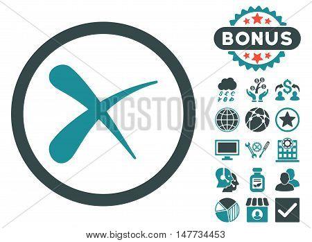 Erase icon with bonus design elements. Vector illustration style is flat iconic bicolor symbols, soft blue colors, white background.