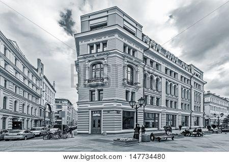 Moscow Russian Federation - September 15, 2016: Prestige apartment house on Nikoljskaja street in the historical city center.