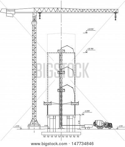 crane drawing, tower crane, concrete mixer, feeding concrete to the construction site, construction crane drawing of a sectional elevation on the construction drawings