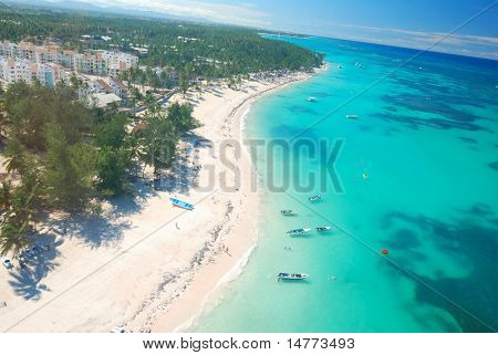 Beautiful caribbean beach in Dominican Republic aerial view