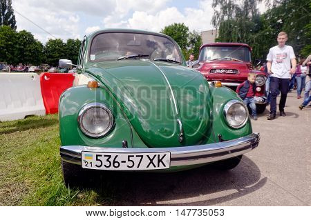 Kharkiv Ukraine - May 22 2016: Volkswagen retro car exhibited at the festival of vintage cars Kharkiv Retro Rally - 2016 in Kharkiv Ukraine on May 22 2016