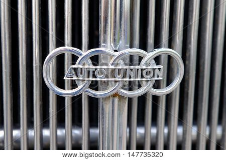 Kharkiv Ukraine - May 22 2016: Close up of the hood ornament of retro car Audi Front-225 manufactured in 1936 is presented at the festival of vintage cars Kharkiv Retro Rally - 2016 in Kharkiv Ukraine on May 22 2016