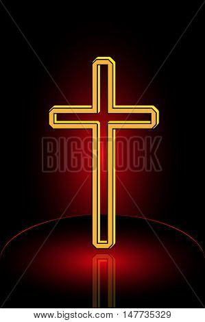 Christian Cross Vector , cross on a red background
