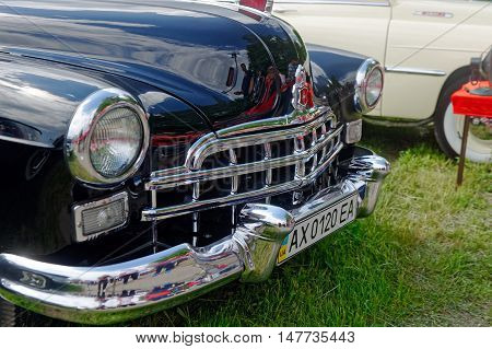Kharkiv Ukraine - May 22 2016: Close up of Soviet retro car black GAZ-12 (ZIM) manufactured between 1949 and 1959 is presented at the festival of vintage cars Kharkiv Retro Rally - 2016 in Kharkiv Ukraine on May 22 2016