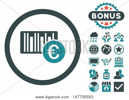 Euro Barcode icon with bonus pictogram. Vector illustration style is flat iconic bicolor symbols, soft blue colors, white background.