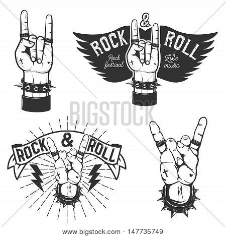 Set of the human hands with Rock and roll symbol. Rock and roll festival. Design elements for poster emblem. Vector illustration.