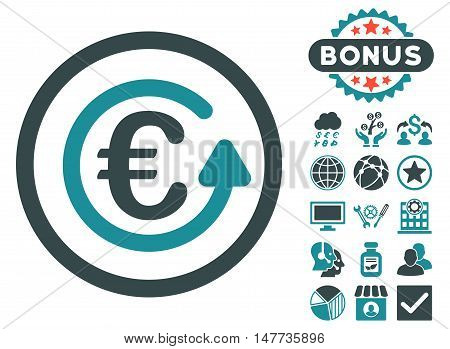 Euro Chargeback icon with bonus images. Vector illustration style is flat iconic bicolor symbols, soft blue colors, white background.