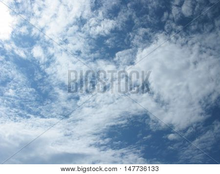 White clouds on blue sky. The clouds in the sky. Sky with clouds. Clouds background. Sky background. Heaven. Nature.