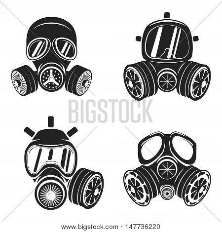 Set of gas masks isolated on white background. Design element for logo label emblem sign brand mark. Vector illustration.