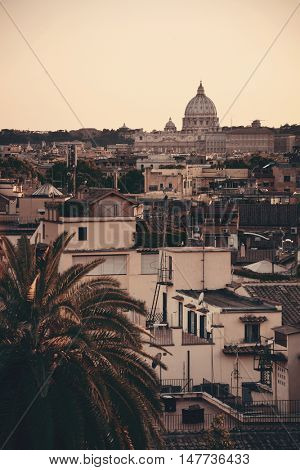 Rome rooftop view with St Peters Basilica of Vatican City.
