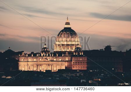 Vatican City St Peters Basilica at sunset.