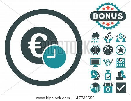 Euro Credit icon with bonus design elements. Vector illustration style is flat iconic bicolor symbols, soft blue colors, white background.