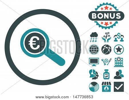 Euro Financial Audit icon with bonus images. Vector illustration style is flat iconic bicolor symbols, soft blue colors, white background.