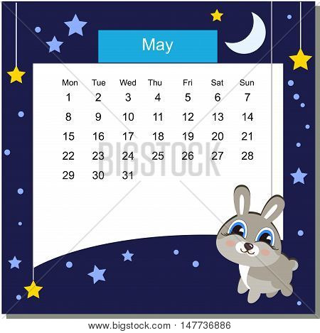 Frame with hare. Frames with Cartoon Animals. Cartoon hare. Frames are text ready. Calendar 2017. Vector Flat Design Template. May. Week Starts Monday