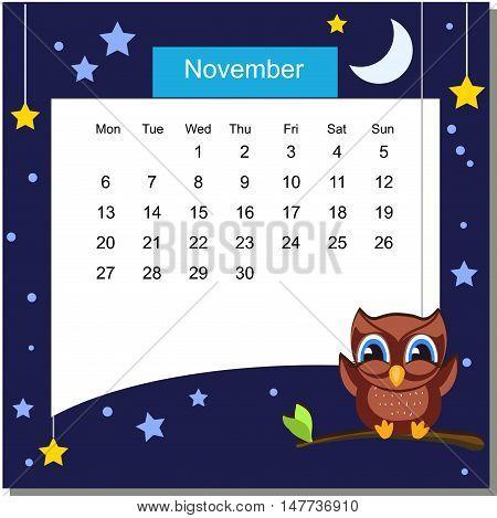 Frame with owl. Frames with Cartoon Animals. Cartoon owl. Frames are text ready. Calendar 2017. Vector Flat Design Template. November. Week Starts Monday