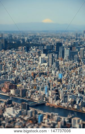 Tokyo urban skyline rooftop view with Mt Fuji, Japan.